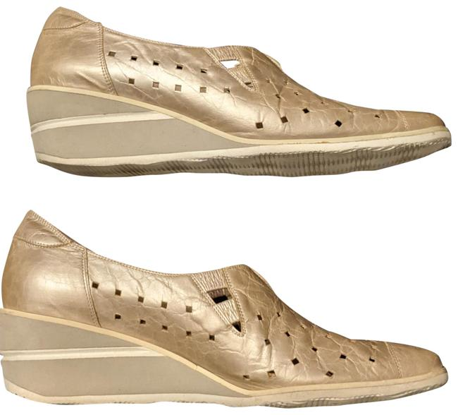 Item - Metallic Gold Punch-out Leather Wedges Size US 9.5 Narrow (Aa, N)