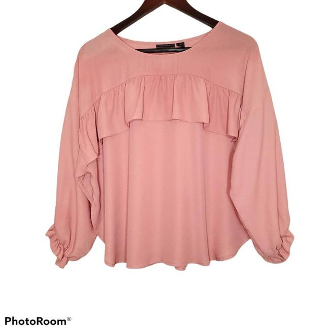 Item - Pink Ruffle Loose Flowy M Blouse Size 8 (M)