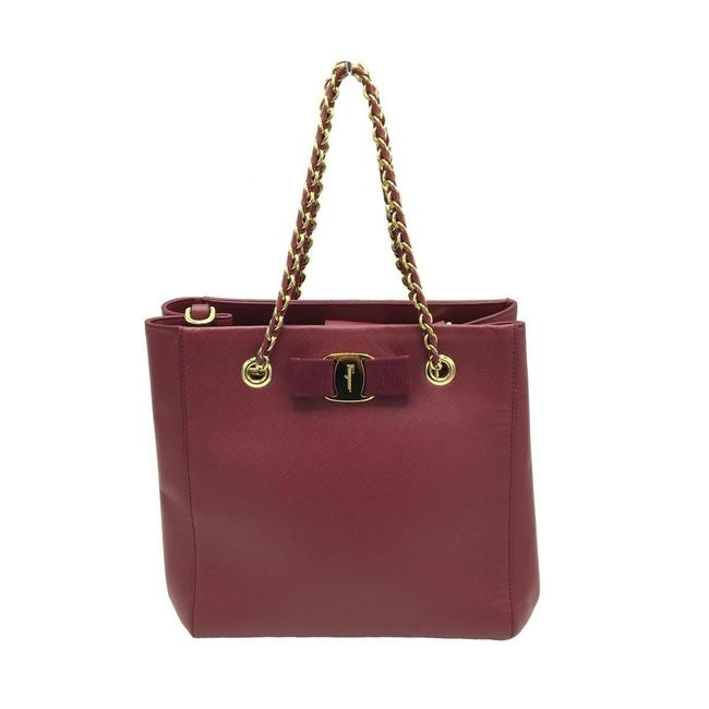Item - Bag Gold Hardware Red Color Leather Tote