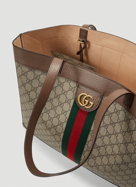 Gucci Top Handle Bag Ophidia Large Gg Supreme Zip Pouch Beige Brown Canvas Leather Tote Gucci Top Handle Bag Ophidia Large Gg Supreme Zip Pouch Beige Brown Canvas Leather Tote Image 2