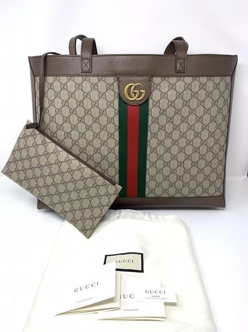 Gucci Top Handle Bag Ophidia Large Gg Supreme Zip Pouch Beige Brown Canvas Leather Tote Gucci Top Handle Bag Ophidia Large Gg Supreme Zip Pouch Beige Brown Canvas Leather Tote Image 11