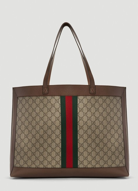 Gucci Top Handle Bag Ophidia Large Gg Supreme Zip Pouch Beige Brown Canvas Leather Tote Gucci Top Handle Bag Ophidia Large Gg Supreme Zip Pouch Beige Brown Canvas Leather Tote Image 3