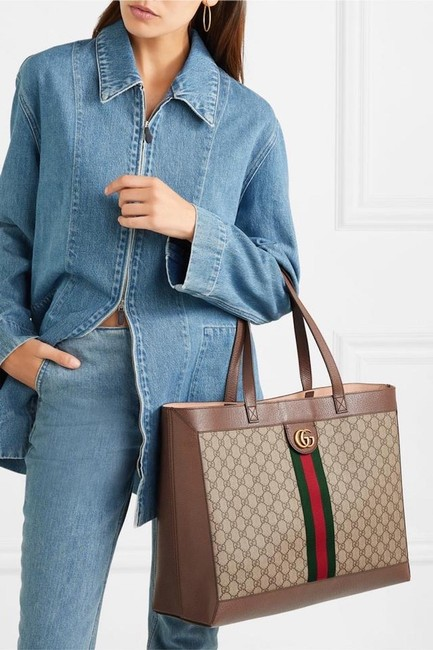 Gucci Top Handle Bag Ophidia Large Gg Supreme Zip Pouch Beige Brown Canvas Leather Tote Gucci Top Handle Bag Ophidia Large Gg Supreme Zip Pouch Beige Brown Canvas Leather Tote Image 4
