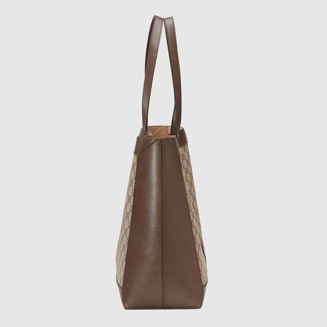 Gucci Top Handle Bag Ophidia Large Gg Supreme Zip Pouch Beige Brown Canvas Leather Tote Gucci Top Handle Bag Ophidia Large Gg Supreme Zip Pouch Beige Brown Canvas Leather Tote Image 6