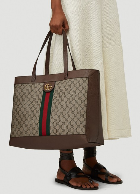 Gucci Top Handle Bag Ophidia Large Gg Supreme Zip Pouch Beige Brown Canvas Leather Tote Gucci Top Handle Bag Ophidia Large Gg Supreme Zip Pouch Beige Brown Canvas Leather Tote Image 8