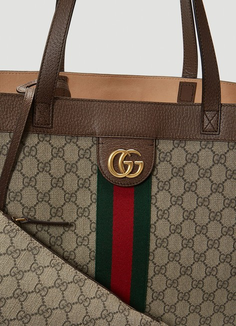 Gucci Top Handle Bag Ophidia Large Gg Supreme Zip Pouch Beige Brown Canvas Leather Tote Gucci Top Handle Bag Ophidia Large Gg Supreme Zip Pouch Beige Brown Canvas Leather Tote Image 10