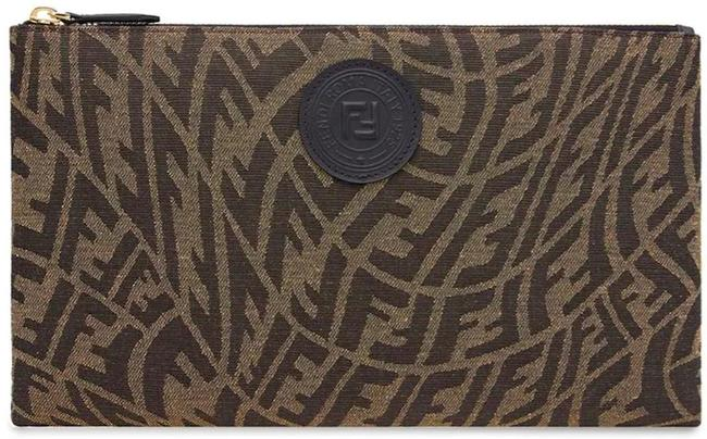 Item - Clutch New Ff Zip Pouch Brown Black Canvas Tote