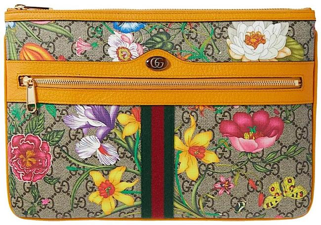 Item - Bag Ophidia Logo Floral Pouch Orange Wallet Brown Yellow Gg Supreme Canvas Clutch