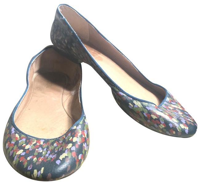 Item - Navy/Green/Lime/Red/Purple With Multi-colored Speckled Designs Flats Size US 6 Regular (M, B)