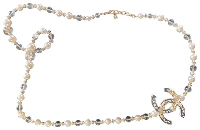 Item - White Resin Glass Pearl Gold Necklace