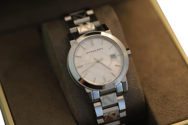 Item - Silver Checkered Pattern Stainless Steel Watch