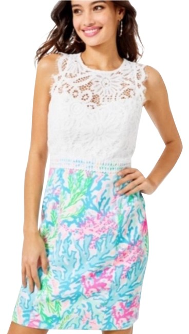 Item - Blue Pink White Sharice Shift Multi Coral Bay Short Casual Dress Size 6 (S)