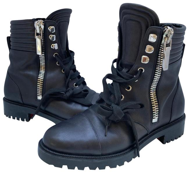 Item - Black/Silver Hiver Dual Zip Red Sole Combat Boots/Booties Size EU 39.5 (Approx. US 9.5) Regular (M, B)