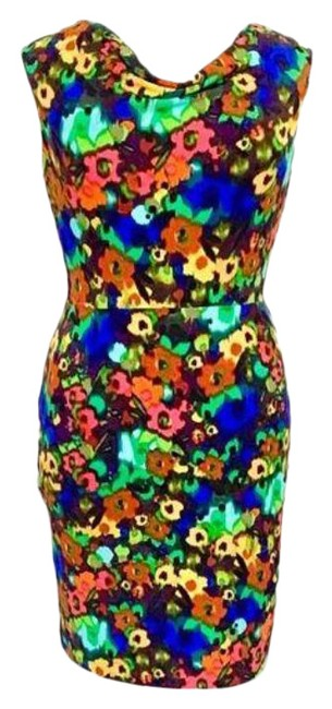 Item - Green Pink Sleeveless Cowl Neck Floral Mid-length Work/Office Dress Size 12 (L)