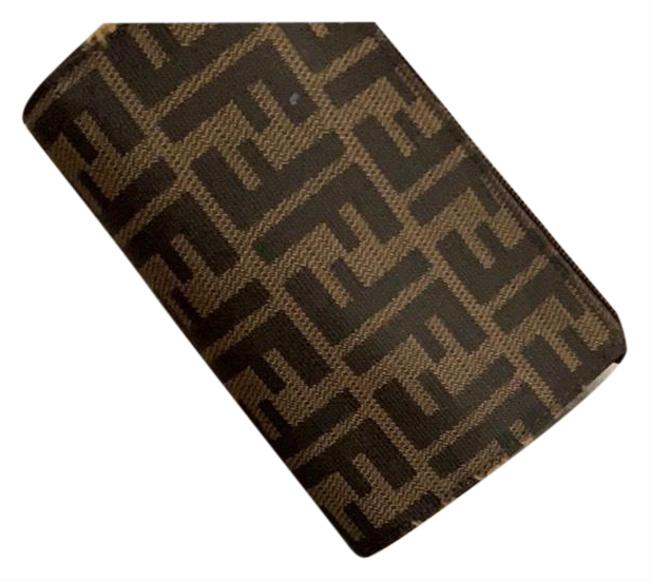 Item - Brown and Black Fabric Leather Clutch