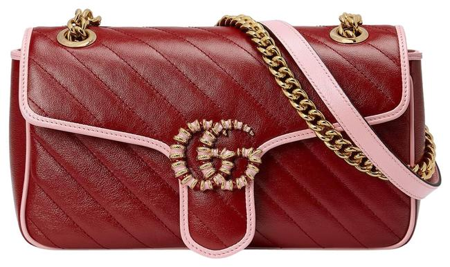 Item - Marmont Gg Small Red and Pink Matelassé Leather Shoulder Bag