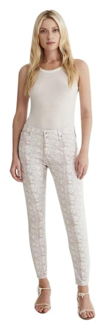 Item - White The Prima Ankle Cigarette Snakeskin Ivory Dust Capri/Cropped Jeans Size 26 (2, XS)
