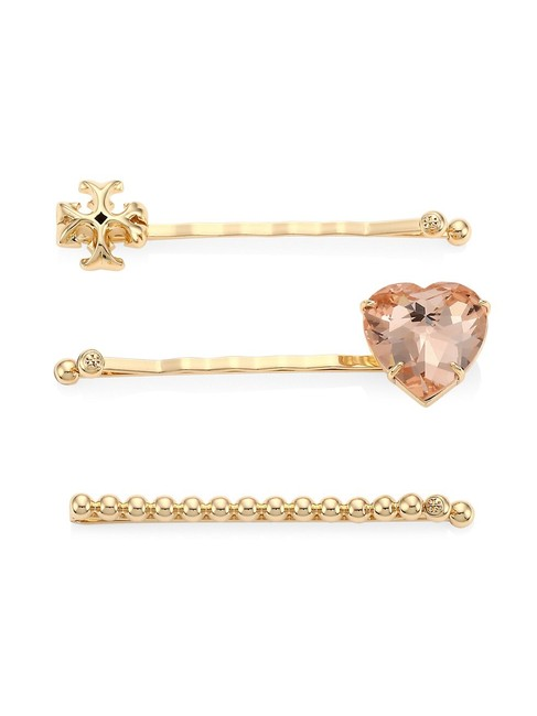 Item - Gold Heart 3-piece Embellished Hairpin Set Hair Accessory