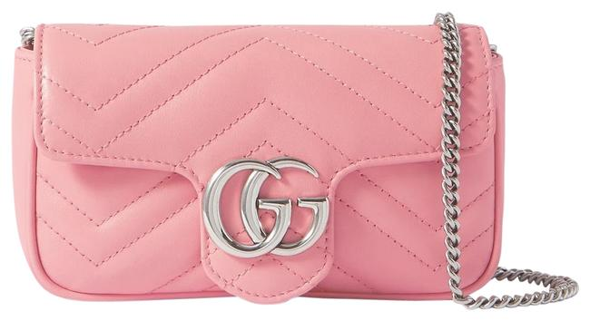 Item - Marmont New Gg Super Mini Quilted Leather Shoulder Pink Cross Body Bag