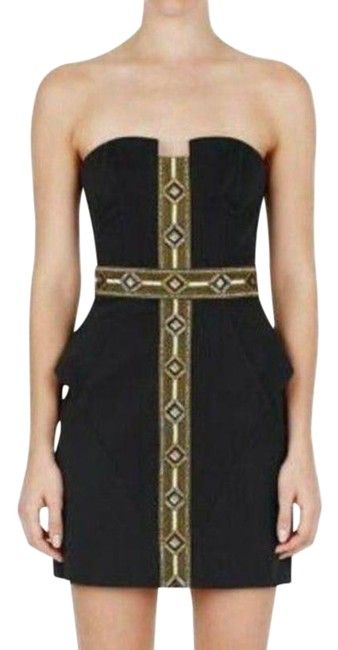 Item - Gold Black Self Service Strapless In Navy Short Casual Dress Size 0 (XS)
