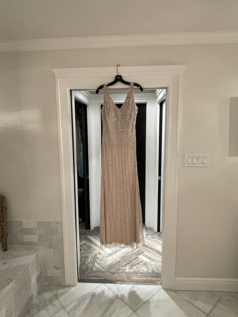 Item - Champagne Beaded Gown Long Formal Dress Size 8 (M)