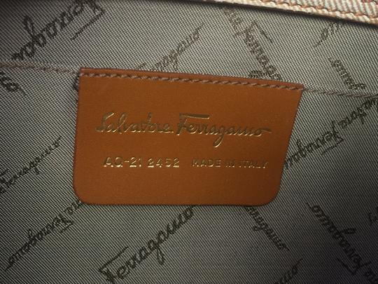 Salvatore Ferragamo Fabric Leather Logo Bow Tie Up Buckle Shoulder Bag