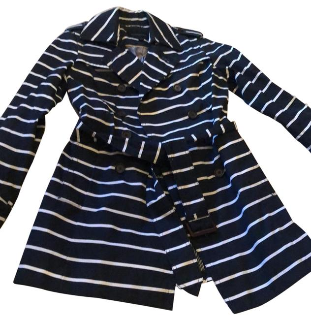 Item - Navy and White Stripe Trench Jacket Size 0 (XS)