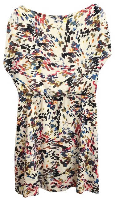 Item - Red Silk Ruched Printed Short Casual Dress Size 8 (M)