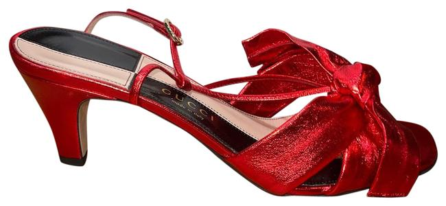 Item - Red Dafne Leather Bow Sandals Size EU 37 (Approx. US 7) Regular (M, B)