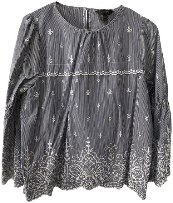 Item - Blue and White J.crew Embroidered with Bell Sleeves Blouse Size 4 (S)