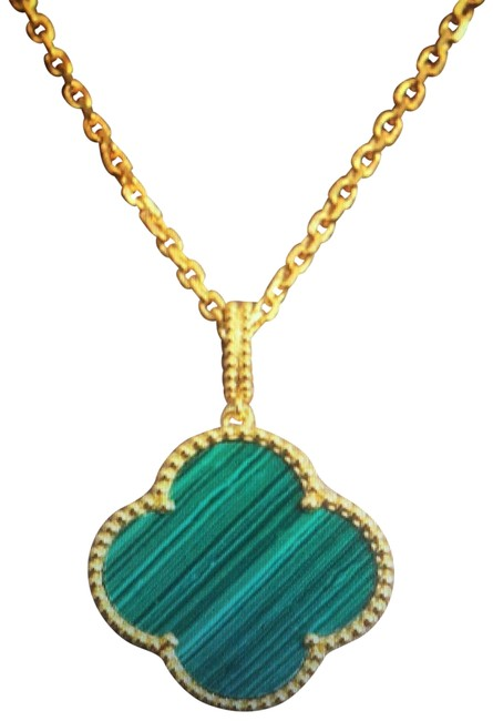 """Item - Gold and Green Malachite Extra Large 25"""" Clover Long Necklace"""
