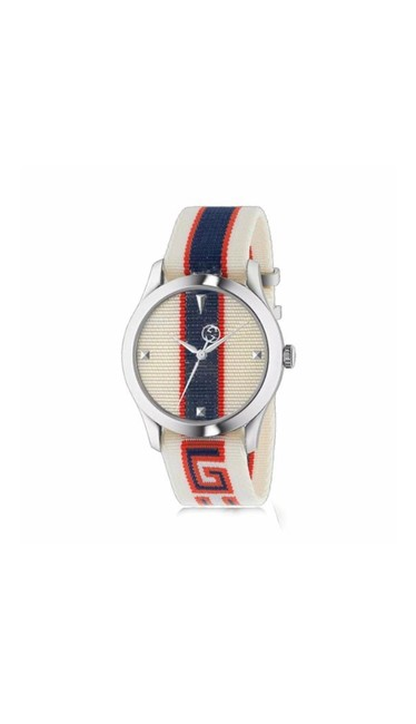 Item - Multi White Blue Red G-timeless 38mm Silver Stainless Steel Case Wristwatch Watch