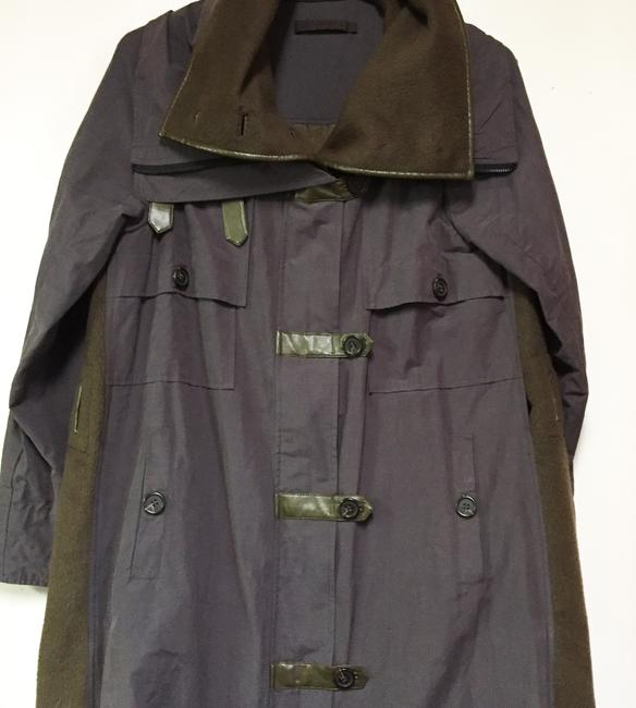 Item - Grey and Green High Funnel Neck Trench Utility Coat Jacket Size 14 (L)