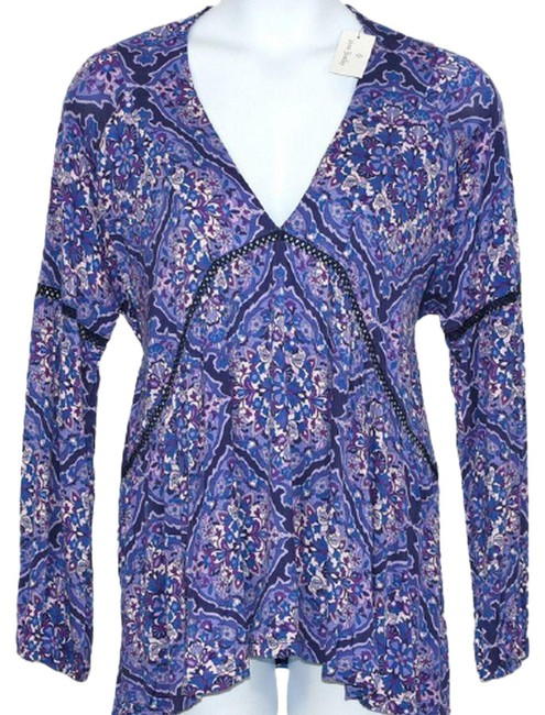 Item - Purple L Regal Rose V Neck Pullover with Tags Blouse Size 12 (L)