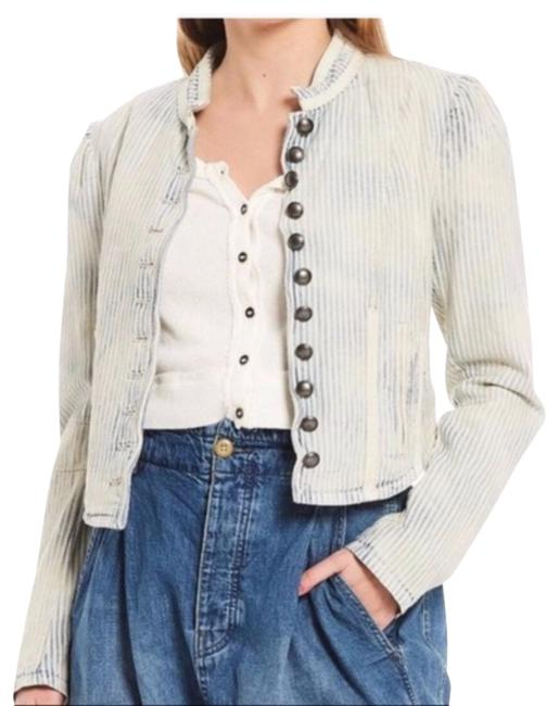 Item - Blue and White Cassie In Bleached Out Indigo Jacket Size 12 (L)