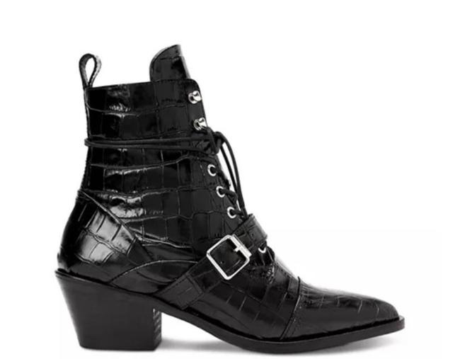 Item - Black Katy Croc Embossed Leather Boots/Booties Size EU 38 (Approx. US 8) Regular (M, B)