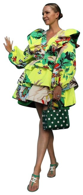Item - Green Floral Long Sleeves Ruffle Dress Skirt Size 4 (S, 27)