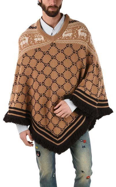 Item - Camel Wool Frilled Poncho/Cape Size OS (one size)