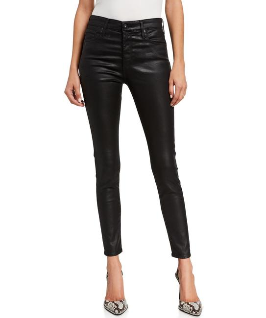 Item - Black Coated Farrah High Rise Waist Faux Leather Leatherette Skinny Jeans Size 25 (2, XS)