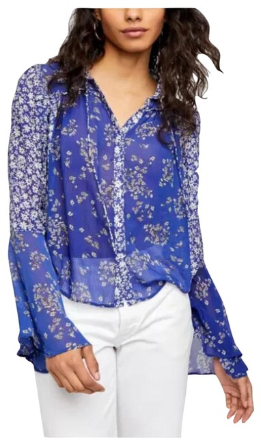 Item - Blue Multi-color Serena Bell Sleeve Crop Blouse Size 2 (XS)