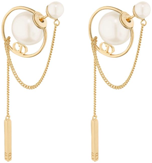 Item - Gold Tribales Gold-finish Metal and White Resin Pearls Earrings