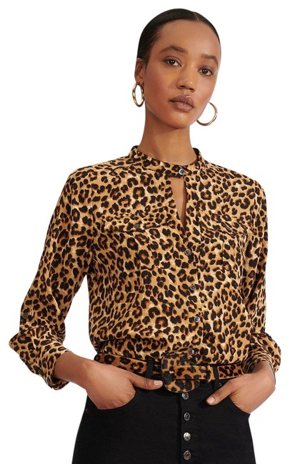 Item - Black Our Silk Ann In Leopard Button-down Top Size 4 (S)