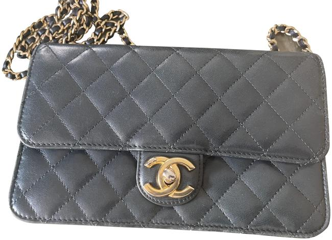 Item - Classic Flap Mini Quilted with Gold Hardware Dark Green Lambskin Leather Cross Body Bag