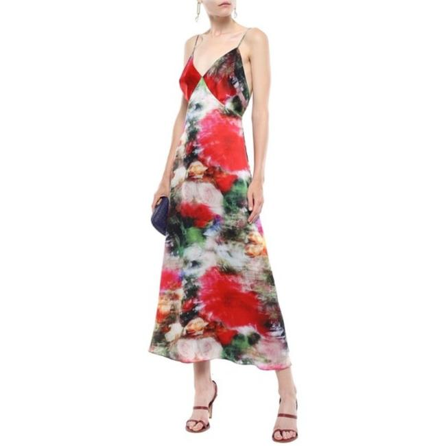Item - Floral Silk Cami Flare Midi Mid-length Cocktail Dress Size 10 (M)
