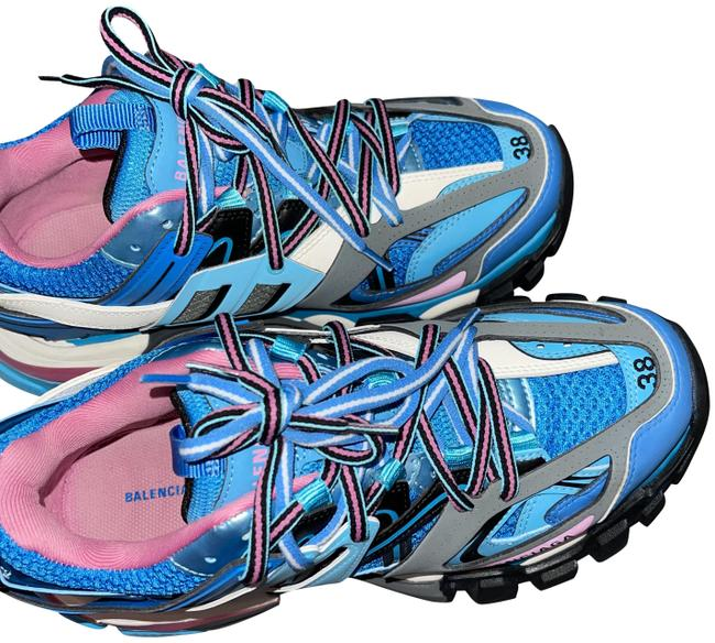 Item - Pink Blue Black White Grey Track Runners Sneakers Size EU 38 (Approx. US 8) Regular (M, B)