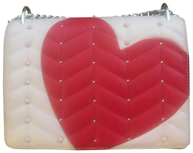 Item - Heart It Marci Beige-pink and Red Cowhide Leather Exterior Fabric Interior Shoulder Bag