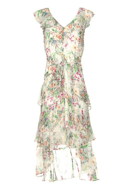 Item - Floral White Printed Ruffle Mid-length Short Casual Dress Size 6 (S)