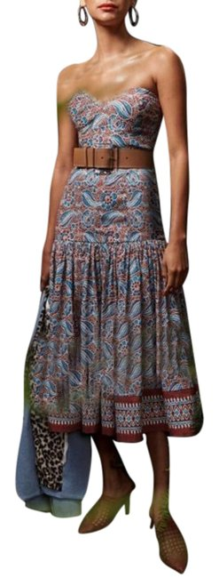 Item - Red Blue Fiore Linen Midi Mid-length Cocktail Dress Size 10 (M)