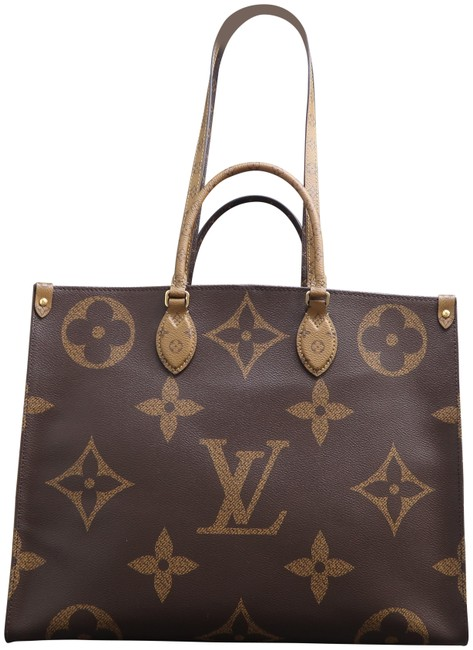 Item - Onthego Reverse Giant 2019 Brown and Tan Monogram Canvas Tote