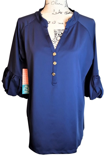 Item - Piper Navy With Balloon Sleeves Blouse Size 16 (XL, Plus 0x)